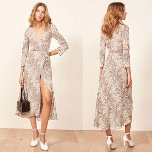 Reformation Jaz Python Wrap Midi Dress